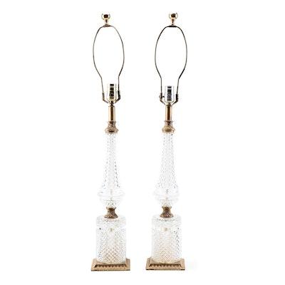 Mid Century Italian Diamond-Cut Glass and Gilt Metal Column Table Lamps