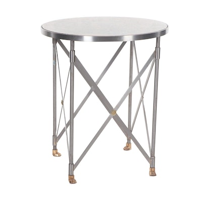 Contemporary Metal Stone Top End Table