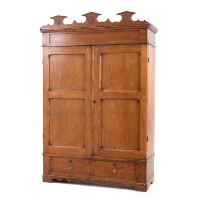 Butternut Knock-Down Wardrobe, Possibly Canadian, Circa 1870s