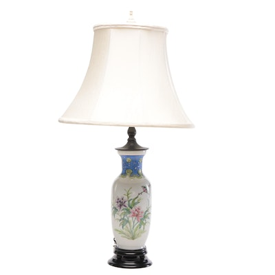 Japanese Converted Table Lamp Adorned with Birds and Floral Designs, Mid-Century