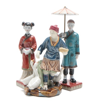 Chinese Porcelain Figurines, Mid-20th Century