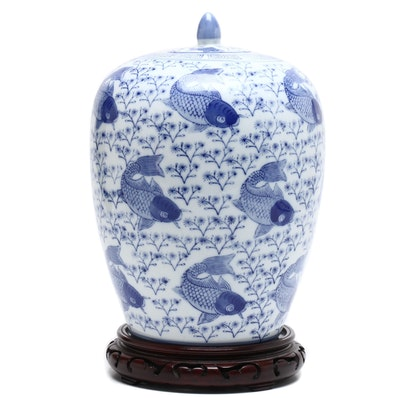 Chinese Porcelain Melon Jar with Fish Motif and Wood Base, Mid-20th Century
