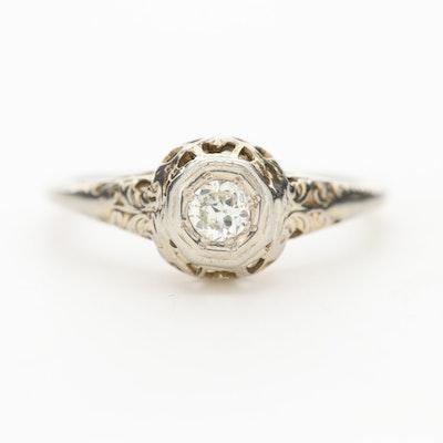 Art Deco 18K White Gold Diamond Scrollwork Solitaire Ring