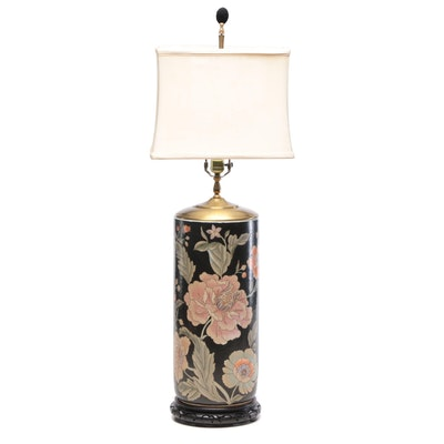 Converted Chinese Famille Noire Umbrella Stand Table Lamp, Mid-20th Century