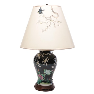 Chinese Famille Noire Porcelain Ginger Jar Table Lamp with Painted Shade