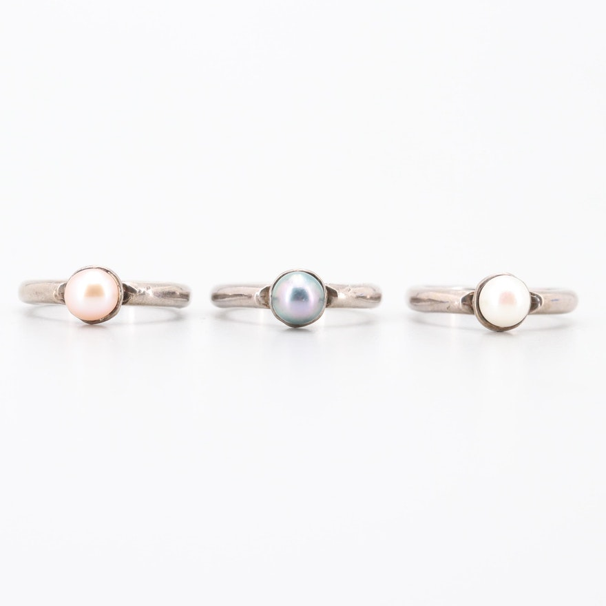 Sterling Silver Cultured Pearl Rings