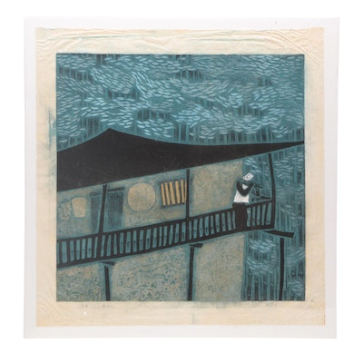 "Japanese Woodblock Print ""Nocturne"""
