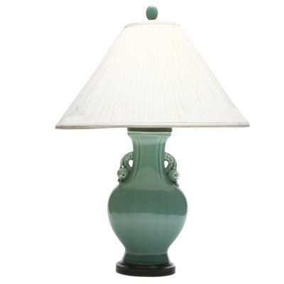 Chinese Glazed Earthenware Lamp, Late 20th Century