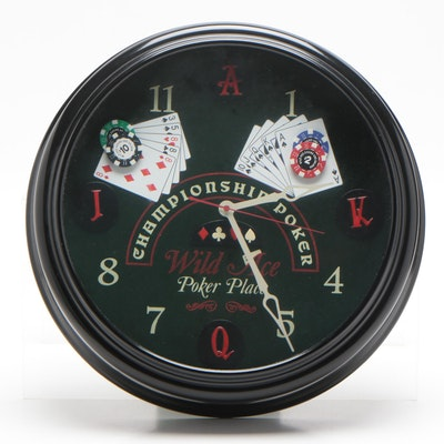 """Championship Poker """"Wild Ace Poker Place"""" Wall Clock, Contemporary"""