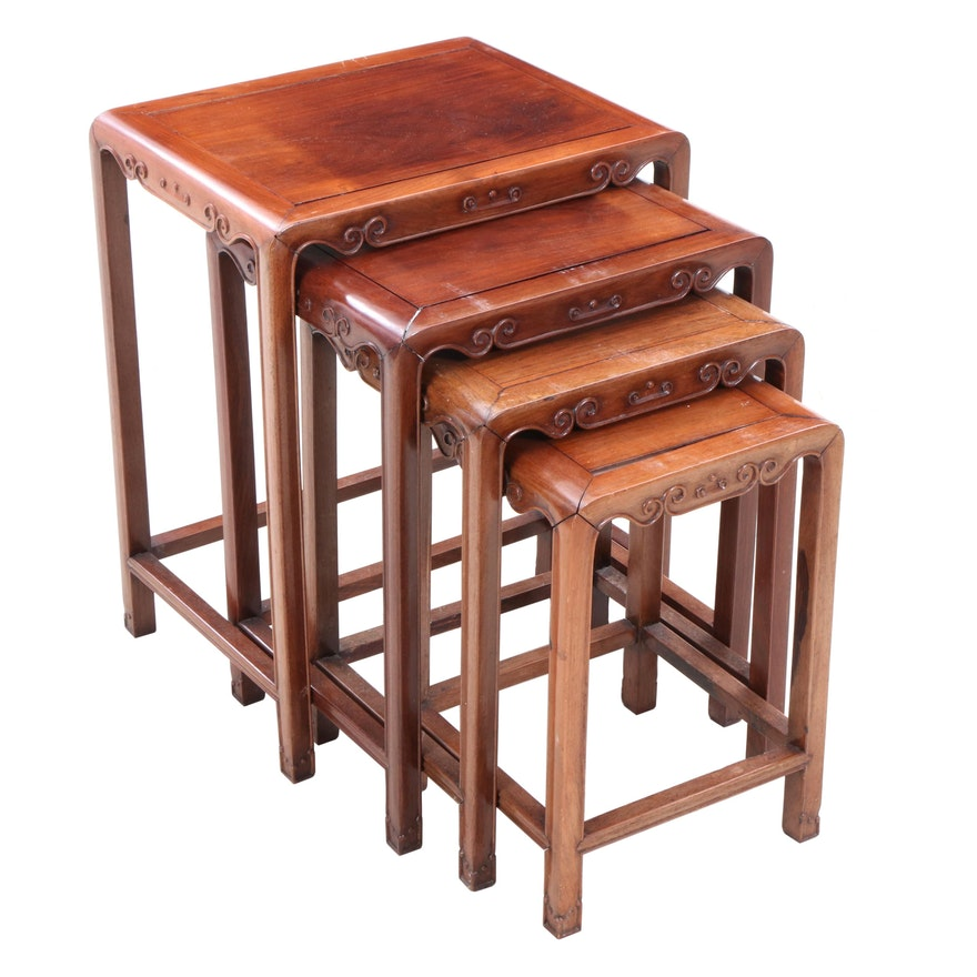Chinese Carved Nested Tables, Mid-20th Century