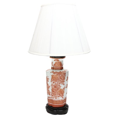 Chinese Porcelain Converted Longevity Pattern Table Lamp with Wood Base