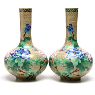 Chinese Cloisonné Mantel Vases, Mid-20th Century