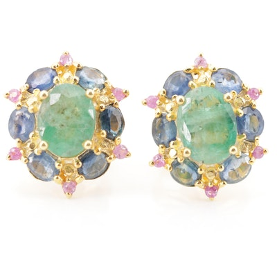Sterling Silver Emerald and Sapphire Halo Earrings