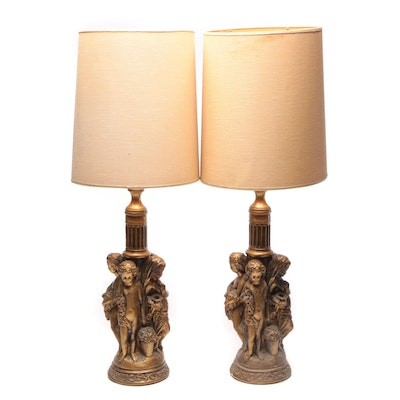 Baroque Style Gold Painted Antiqued Plaster Lamps with Putti, Mid to Late 20th C