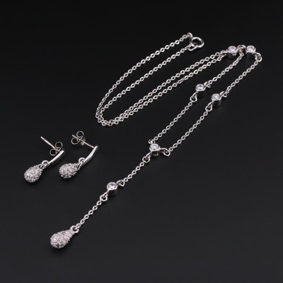 Sterling Silver Cubic Zirconia Dangle Earrings and Pendant Necklace