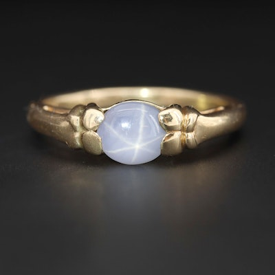 14K Yellow Gold 1.25 CT Star Sapphire Solitaire Ring with Butterfly Motif