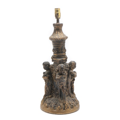 Cast Plaster Lamp with Putti, Mid-20th Century