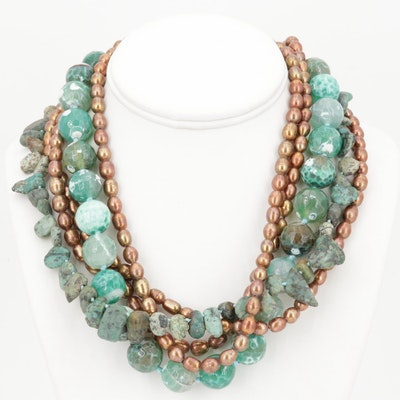 Five-Strand Freshwater Pearl and Turquoise Bead Necklace