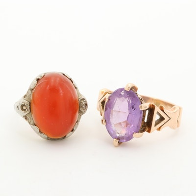 Antique 10K Rose Amethyst and 18K Yellow and White Gold Carnelian Rings