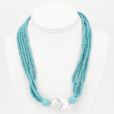 Imitation Turquoise and Freshwater Pearl Necklace