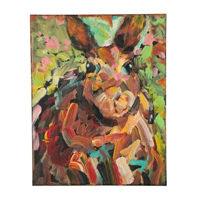Elle Raines Acrylic Painting of Rabbit