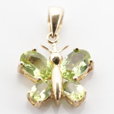10K Yellow Gold 1.50 CTW Peridot Butterfly Pendant