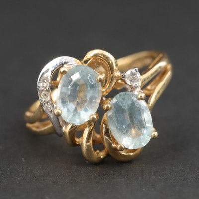 14K Yellow Gold, Blue Topaz and Diamond Ring