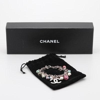 Chanel Silver Tone Art Glass Charm Bracelet
