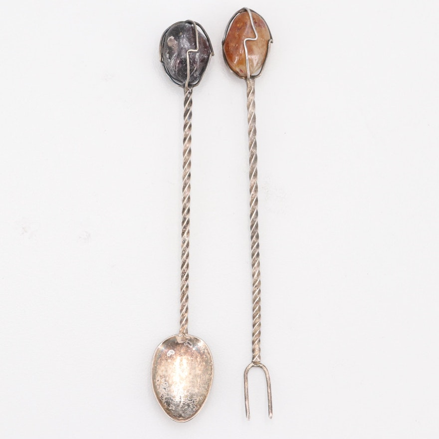 Quartz Tipped Relish Spoon and Olive Pick