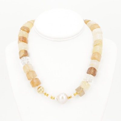 Gold Filled Quartz Bead and Freshwater Pearl Strand Necklace