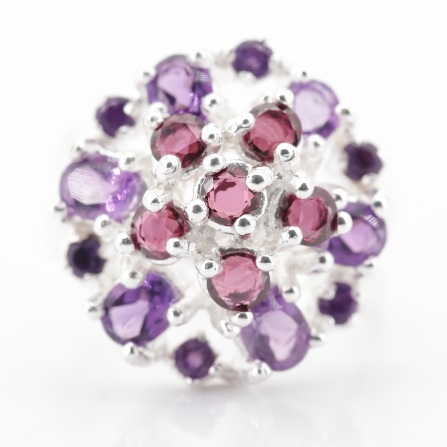 Sterling Silver 1.38 CTW Garnet and 2.00 CTW Amethyst Ring