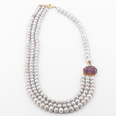 Sterling Silver Freshwater Pearl 4.90 CTW Amethyst and Ruby Necklace