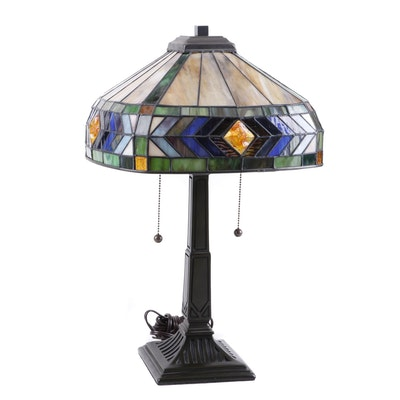 Quoizel Cast Metal Table Lamp with Slag Glass Shade