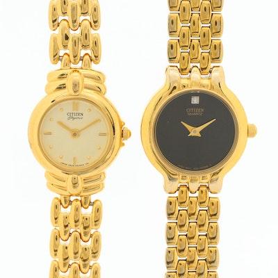 Pair of Citizen Yellow Tone Elegance and Diamond Dial Quartz Wristwatches