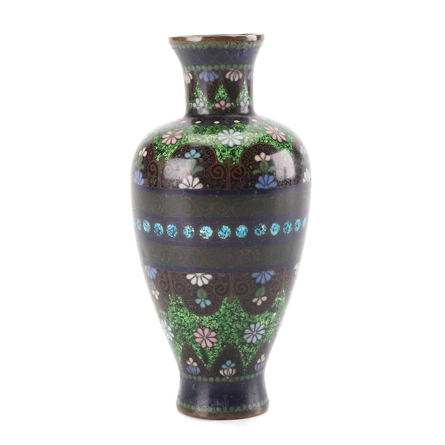 Japanese Bronze Cloisonné Vase, Meiji Period