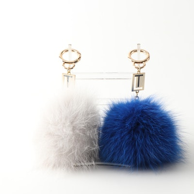 Pair of Love Token Dyed Rabbit and Fox Fur Keychains