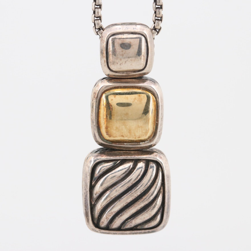 David Yurman Sterling Silver 18K Yellow Gold Accented Necklace