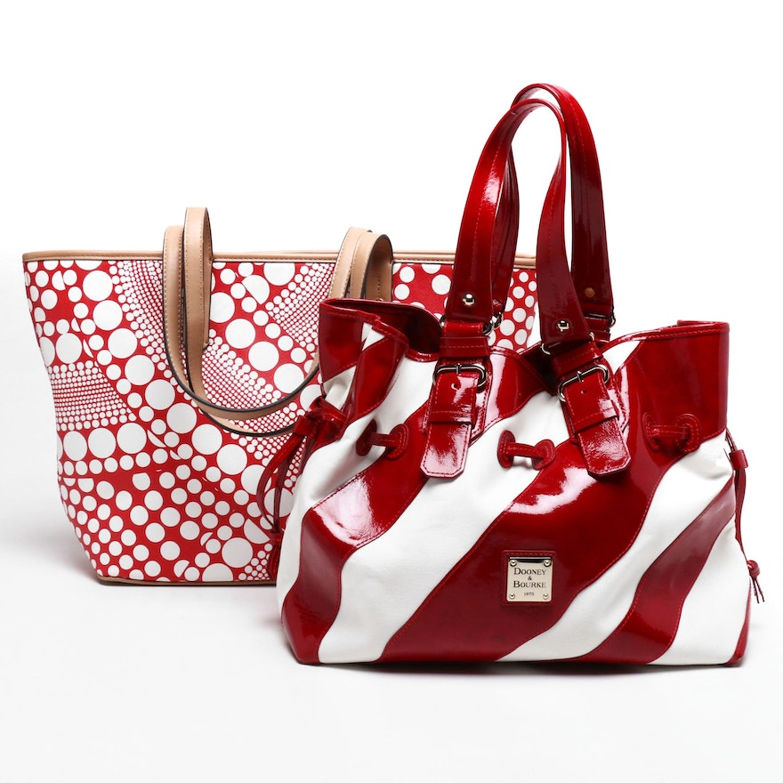 Dooney & Bourke Canvas and Leather Striped Tote and Kate Landry Tote