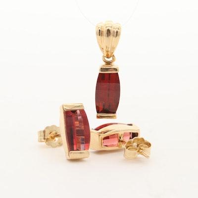 14K Yellow Gold Garnet Pendant and Earrings Set