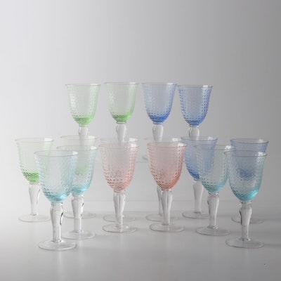 Multi-Color Hobnail Wine Glasses, Contemporary