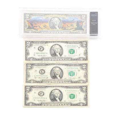 Colorized U.S. Two Dollar Bill Commemorating Arizona and Three Two Dollar Notes