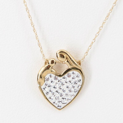 14K Yellow Gold Rhinestone Mother and Child Pendant Necklace