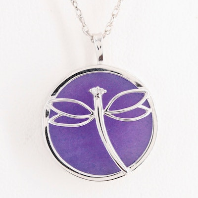 Sterling Silver Quartz Dragonfly Pendant Necklace with Diamond Accent