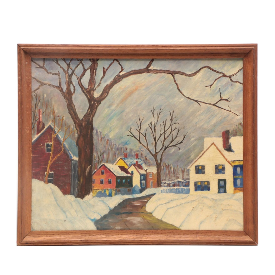Mid 20th Century Oil Painting of Winter Street Scene