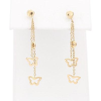 14K Yellow Gold Butterfly Drop Earrings