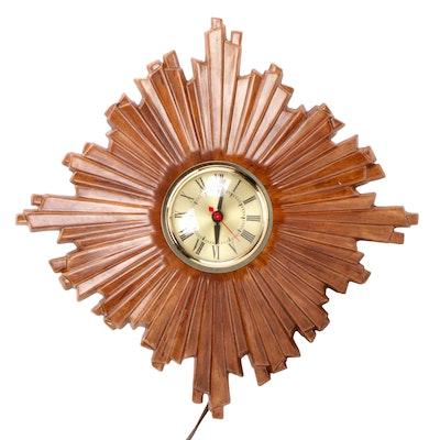 Sessions Clock Co. Holland Mold Starburst Wall  Clock, Mid-Century