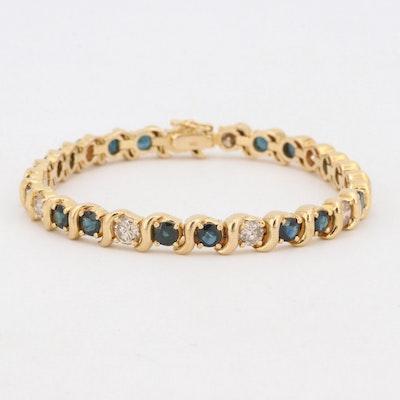 14K Yellow Gold 2.20 CTW Diamond and Sapphire Tennis Bracelet