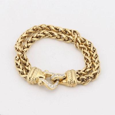 David Yurman 18K Yellow Gold Diamond Horseshoe Clasp Bracelet
