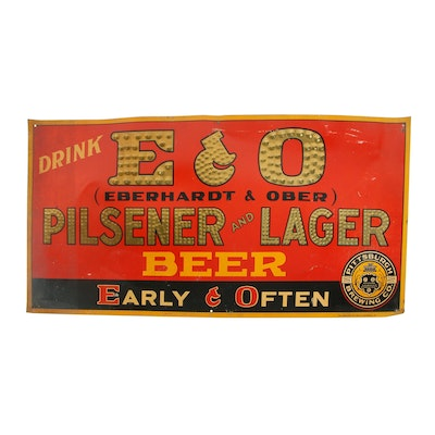 Vintage Pittsburgh Brewing Co. Eberhardt & Ober Embossed Tin Lithograph Sign
