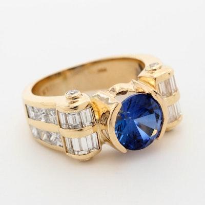 H & T Goldman 14K Yellow Gold Sapphire and 2.21 CTW Diamond Ring